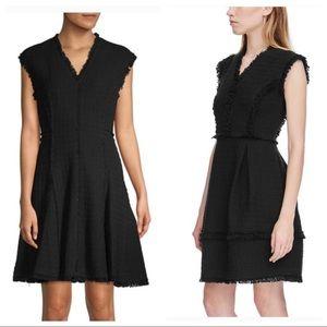 Rebecca Taylor Tweed Dress w/ Fringe Trim in Black